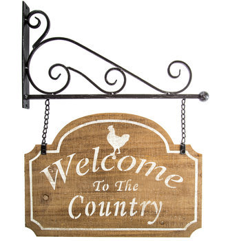 Welcome to the Country Hanging Sign, Wood with Metal Hanger, 20 1/2 x 16 inches