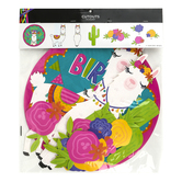 Llama Party Happy Birthday Cut-Outs, Assortment, Southwest Colors, 11 Count