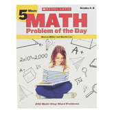 Scholastic, 5-Minute Math Problem of the Day Workbook, Reproducible Paperback, 64 Pages, Grades 4-8