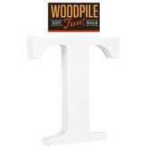 Woodpile Fun, Stand Alone Wood Letter - T, 3 inches, White