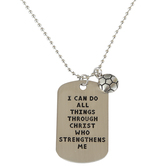 Soul Anchor, Philippians 4:13 Dog Tag with Soccer Ball Charm Necklace, Zinc Alloy, Silver, 24 inches