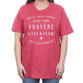 Ruby's Rubbish, Jesus & Germs, Women's Short Sleeve T-shirt, Heather Red, S-2XL