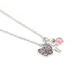 Collectables America, Cross Necklace with Pink Crystal and Pink Butterfly, Rhodium and Crystals, 16 inches