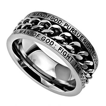Spirit & Truth,1 Timothy 6:6-16, Man of God, Inset Chain, Men's Ring, Stainless Steel