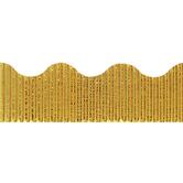 The Fine Touch, Corrugated Border Trim, 25 Feet, Metallic Gold
