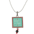 Wildflower Road, Humble and Kind Square Pendant Necklace, Zinc Alloy, Silver, 20 inches