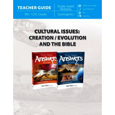 Master Books, Cultural Issues Creation, Evolution, and the Bible, Teacher Guide, Grades 9-12