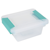 Sterilite, Mini Clip Box, Clear & Aqua, 6 1/2 x 5 x 2 3/4 inches