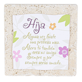 Product Concept Manufacturing, Hija Spanish Tabletop Plaque, Natural Stone, 4 x 4 inches