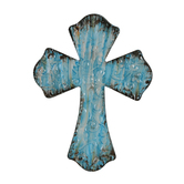 Embossed Metal Wall Cross, Turquoise Blue, 9 3/8 x 7 3/8 inches