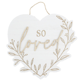 So Loved Heart Wall Decor, MDF, 10 7/8  x 11 7/8 x 1/2 Inches