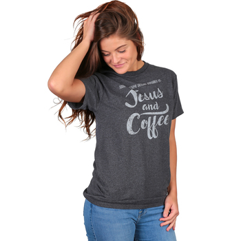 Red Letter 9, Jesus and Coffee Short Sleeved T-Shirt, Heather Charcoal, S-3X