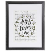 Jesus Loves Me Framed Wall Decor, Wood and Glass, Black and White, 16 5/8 x 13 1/8 x 1 inches