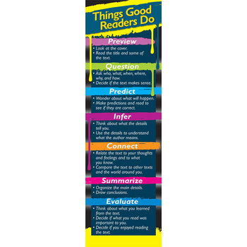 Carson Dellosa, Things Good Readers Do Bookmarks, 2 x 6.5 Inches, Multi-Colored, Pack of 30