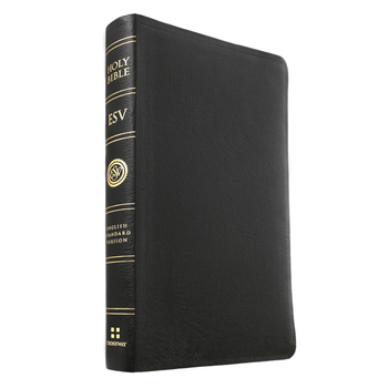 ESV Large Print Thinline Reference Bible, Genuine Leather, Black
