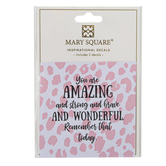 Mary Square, You Are Amazing Decal, Pink & White, 3 x 3 inches, Set of 2