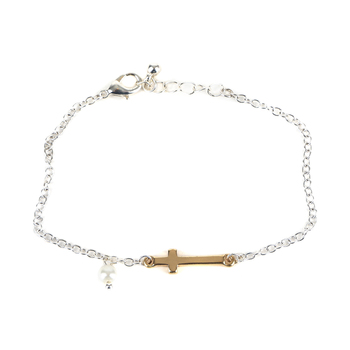 Modern Grace, Proverbs 31:25 Cross with Pearl Bracelet, Silver and Gold