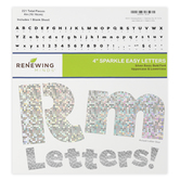 Renewing Minds, Silver Sparkle Bulletin Board Letters, Upper and Lowercase, 4 Inches, Silver, 221 Pieces