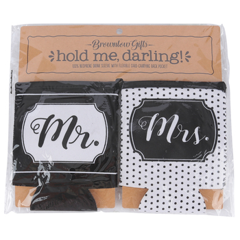 Brownlow Gifts, Mr & Mrs Drink Sleeves, Black and White, 4 x 5 inches, 1 Each of 2 Designs