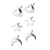 Set Free, Heart, Star, Moon Post Earring Set, Zinc Alloy, Silver, Set of 3