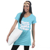 NOTW, I Love Jesus and Naps, Women's Cuffed Short Sleeve Sleep Shirt, Seafoam, Small