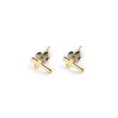 H.J. Sherman, Flared Cross, Stud Earrings, 18K Gold Over Sterling Silver