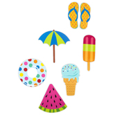 Renewing Minds, Summer Fun Large Cut-Outs, 6 Inches, 6 Assorted Designs, 36 Pieces