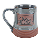 Abbey and CA Gift, Man of Strength Stoneware Mug, Gray and Terra Cotta, 20 ounces