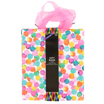 Brother Sister Design Studio, Watercolor Large Gift Bags, 12 3/4 x 11 3/8 x 5 inches, 3 Bags