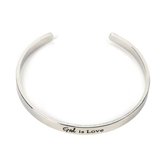 Radiant Sol, God Is Love Bangle Bracelet, Iron, Silver