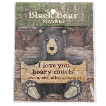 Imagine Design, 1 Corinthians 13:8 I Love You Beary Much Black Bear Magnet, 3 1/2 x 3 inches