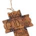 Matthew 19:26, Western Wall Cross, Resin, Brown, 4 x 3 1/4 inches
