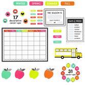 Schoolgirl Style, Black, White and Stylish Brights Calendar Bulletin Board Set, Multi-Colored, 89 Pieces