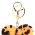 Leopard Print Heart Key Chain, Beige & Black, 4 1/2 x 2 3/4 inches