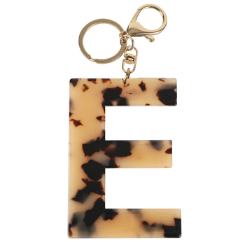E Letter Keychain, Leopard, 2 3/4 x 2 1/4 Inches