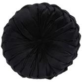 Black Velvet Round Textured Pillow, Polyester, 15-inch Diameter x 5.37 Inches