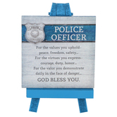 Abbey and CA Gift, Police Officer Plaque on Mini Easel, Wood, Blue, 5 x 3 1/4 x 3 inches