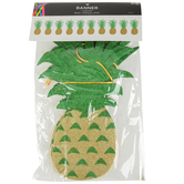 Luau Party Glitter Pineapple Banner, Yellow and Green, 90 Inches, 1 Each