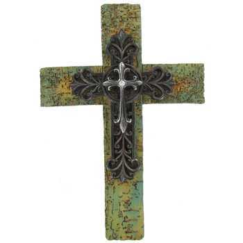 Textured Wall Cross with Overlay, Resin, 13 1/2 x 9 1/4 inches