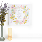 Renewing Faith, Philippians 4:13 I Can Do All Things Floral Artwork, Canvas, 14 x 14 inches