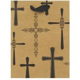 Brother Sister Design Studio, Cross Design Gift Bag, Kraft Brown & Black, Multiple Sizes Available