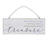 Adams & Co., Treasured Memory Plaque, Wood, White, 8 x 3 x 1/2 inches