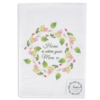 Southern Sisters Home, Home Is Where Your Mom Is Flour Sack Towel, Cotton, White and Green, 30 x 30 Inches