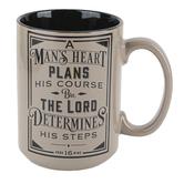 Christian Art Gifts, Proverbs 16:9 Man's Heart Coffee Mug, Ceramic, Brown & Black, 14 ounces