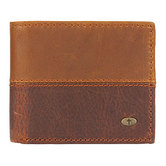 Christian Art Gifts, Two-Tone Bi-fold Wallet with Cross, Genuine Leather, Brown, 4 3/8 x 3 3/4 x   5/8 inches