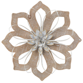 Whitewash Flower with Gold Accents Wall Decor, MDF and Metal, 13 inches