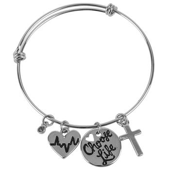 Bella Grace, Choose Life Wire Wrap Charm Bracelet, Zinc Alloy, Silver-tone