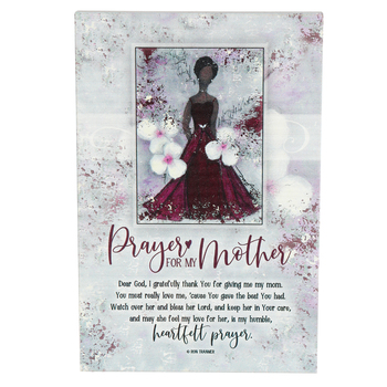 Dexsa, Prayer For My Mother Plaque, Wood, Red/White, 6 x 9 Inches