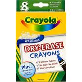 Crayola, Washable Dry-Erase Crayons, Assorted Colors, 8 Count