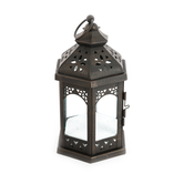 Vintage Candle Lantern, Black Metal, 5 x 9 1/2 inches